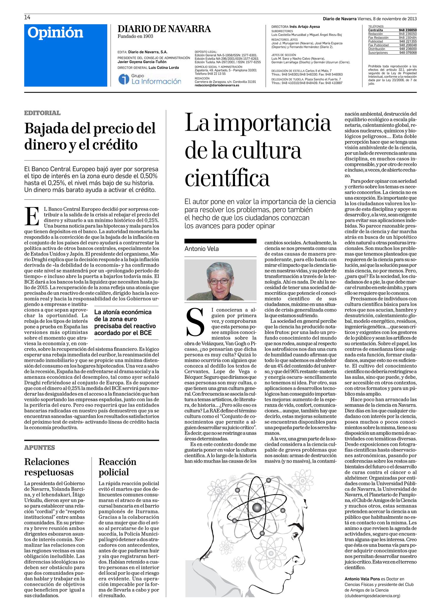 La importancia de la cultura científica. Antonio Vela en Diario de Navarra